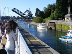 Ballard Locks, Seattle.  Really neat place to visit if in Seattle.  Been there many, many times and never got bored.