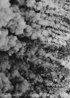 An aerial view of the effects of Allied bombings on the Japanese city of Yokohama, 1945