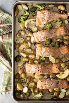 This is a fantastic one-pan baked salmon dish perfect for those busy weeknight dinners. Salmon is baked with potatoes, fresh herbs, broccoli and white wine.