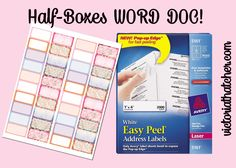 Half boxes using address stickers