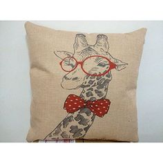 """YPY Creative Fashion Cotton Linen Square Decorative Throw Pillow Cover Colored Drawing Giraffe with Bowknot 18 """"X18 """" YPY http://www.amazon.com/dp/B00MA52DB2/ref=cm_sw_r_pi_dp_74YNvb0FN2DJ5"""