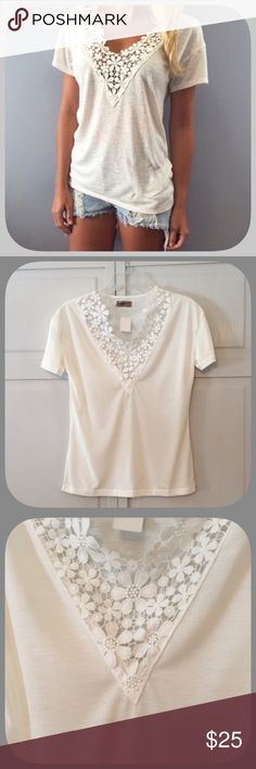 NWT Trendy White Crochet Lace T-Shirt This is the perfect fall tee! The crocheted lace is super pretty! Pair with your favorite jeans and you are good to go! Boutique Tops Tees - Short Sleeve