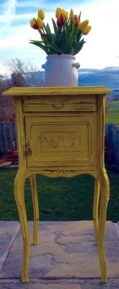 Sourced from France, painted in Annie Sloan English Yellow & dark waxed