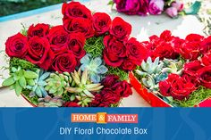 Floral Chocolate Box -  Turn a box of chocolates into a Valentine's Day floral arrangement using roses, succulents, tuna cans & moss! DIY by @kennethwingard on Home and Family!