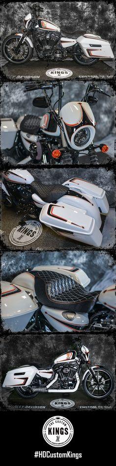"Runner-up Four Rivers Harley-Davidson took a stock 2016 #Iron883 and turned it into ""Go-Damnit"" - a Sportster bagger ready to break necks. | Harley-Davidson #HDCustomKings #harleydavidsondynabagger"