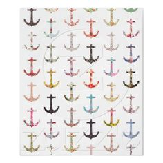 Vintage retro sailor girly floral nautical anchors poster