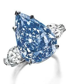 'The Blue' diamond, a 13.22ct Fancy Vivid blue pear-shaped diamond, is the largest flawless Fancy Vivid blue diamond in the world. It has been renamed 'The Winston Blue' by its new owner, Harry Winston. 'The Winston Blue' diamond set a new world auction