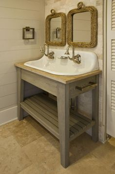 Double Bowl Laundry Trough : Love the looks of this small bathroom double sink solution. {{ rope ...