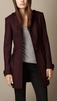 Double Wool Twill Leather Trim Coat | Burberry