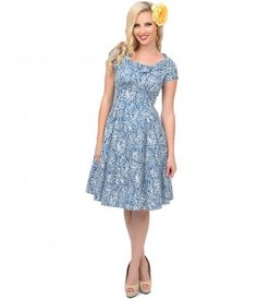 Let's welcome Beverly back with a round of applause, dears! A spirited blue and white swing dress patterned in a cheery...Price - $87.00-VSBpJuBD