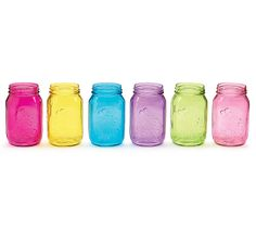 """#burtonandburton Quart size painted pressed glass mason jar.  Translucent colors include: pink, purple, blue, green, yellow, and hot pink.6 1/2""""H X 2 3/4""""Opening.Case of 12."""