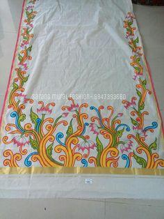 Dress Painting, Fabric Painting, Fabric Art, Saree Painting Designs, Fabric Paint Designs, Hand Painted Sarees, Kerala Mural Painting, Art Hub, Indian Folk Art