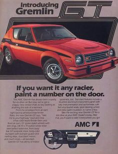 Vintage Cars 1978 AMC Gremlin GT- Why can't they make new versions of classic icons like this. and the Pacer. and other small cars that make everyone happy? - This was the final year for the Gremlin. Amc Gremlin, Gremlins, Rat Rods, Rambler American, Pub Vintage, Vintage Stuff, American Motors, Us Cars, Sport Cars