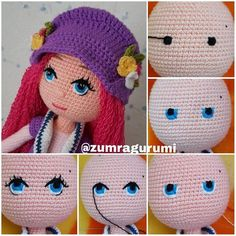 Gorgeous Amigurumi Dolls Love this sweet travelling doll crochet amigurumi pattern!As you know, I love amigurumi! And I'm so impressed by the lovely amigurumi doll patterns that are a Yazıyı Oku… Make your child your own toy … my the is Doll Dress Crochet Eyes, Cute Crochet, Crochet Crafts, Crochet Baby, Crochet Projects, Crochet Dolls Free Patterns, Crochet Doll Pattern, Doll Patterns, Crochet Patterns Amigurumi