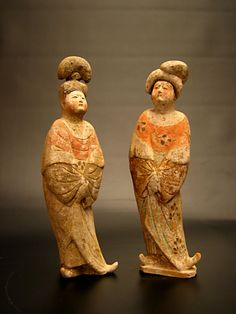 """A Pair of Tang Fat Ladies """" Origin: Shaanxi Province - 'Xi'an' Circa: 618 AD to 907 AD Dimensions: high Collection: Chinese Art Medium: Terracotta Condition: Very. Ancient China, Ancient Art, Chinoiserie, The Han Dynasty, Terracota, Pottery Sculpture, China Art, Cute Little Things, Art For Art Sake"""