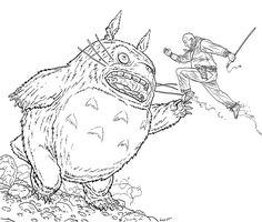 SPACESHIP ROCKET, Shaolin Cowboy vs. Totoro by Geof Darrow