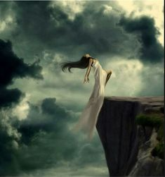 Girl falling from cliff