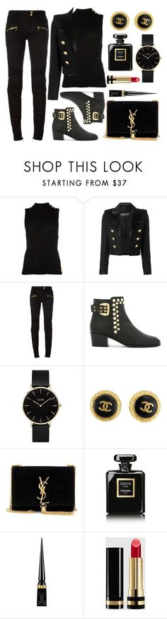 """""""Black & Gold"""" by wolfiexo ❤ liked on Polyvore featuring Balmain, Giuseppe Zanotti, CLUSE, Chanel, Yves Saint Laurent, Christian Louboutin and Gucci"""