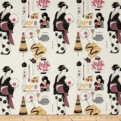Alexander Henry Indochine Geisha Coterie Light Tea Fabric By The Yard