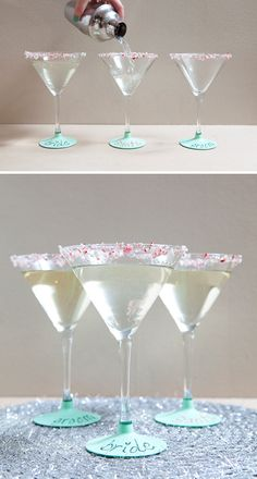 DIY chalkboard martini glasses... write your name and take a sip! www.SomethingTurquoise.com