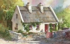 """""""The Red Gate"""" Inspired by a thatched cottage in Spiddal Ireland. Original 5 x 8 watercolor     Sketchbook study  of a thatched cottage do..."""