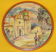 CATALINA POTTERY PAINTED PLATE WITH SCENE OF MISSION SAN LUIS REY BY STROM.