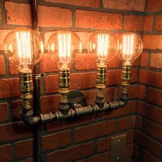 Items similar to Steampunk Industrial 4 Bulb Wall Light with copper spings and coils wall art bathroom vanity home and office rustic pipe on Etsy Pipe Lighting, Bathroom Lighting, Copper Wall Light, Steampunk, Pipe Lamp, Half Baths, Small Appliances, Wall Sconces, Wall Lights