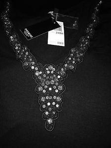 WOMEN'S Plus Size 3X Black Festive Stretch Tunic Dress Crystal Studded Cocktail