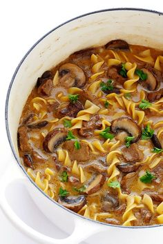 This Beef Stroganoff Soup recipe is easy to make, full of tender beef and noodles, and an absolutely delicious dinner!