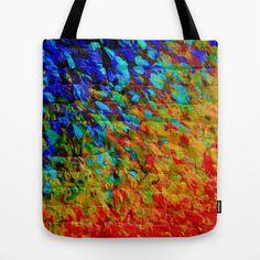 COLLISION COURSE - Bold Rainbow Splash Bricks Urban Jungle Ocean Waves Nature City Acrylic Painting Tote Bag by EbiEmporium - $22.00