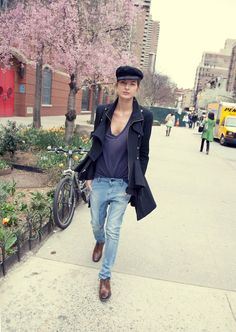 cap, military jacket, tee, slouchy jeans & oxfords #style #fashion