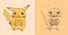Pikachu   Veja como seria o esqueleto de 15 personagens de desenhos animados