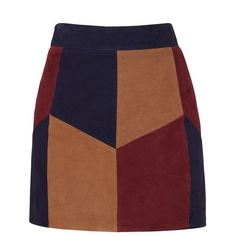 Rental LAMARQUE Retro Suede Patchwork Skirt (€50) ❤ liked on Polyvore featuring skirts, mini skirts, bottoms, dresses, short brown skirt, brown mini skirt, suede mini skirt, mini skirt and color block skirt