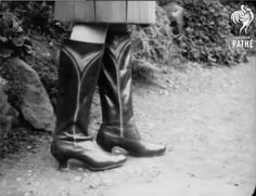 Russian boots in Pathe newsreel, 1930 Something Old, Cowboy Boots, Latest Fashion, Riding Boots, Latest Styles, Eve, British, Shoes, Horse Riding Boots