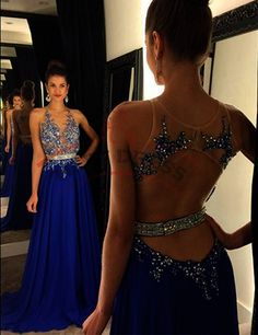 Halter Prom Dresses,Gorgeous Jewel Beading Evening Dresses,Long Royal Blue Prom Dress,Formal Evening Gowns