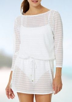 Anne Cole Signature Women's Crochet Boat Neck Tunic Swim Cover Up - White - Xl