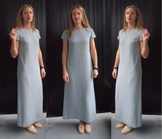 90's Minimalist Grey Long Column Dress  Very by SelvedgeandSew, $29.00