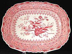 """Asiatic Plants"" 15 inch red transferware platter, c.1835"