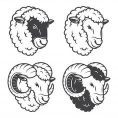 Sheep Silhouette, Animal Silhouette, Sheep Logo, Animals With Horns, Sheep Tattoo, Sheep Illustration, Goat Logo, Sheep Vector, Funny Sheep