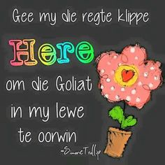 Gee my die regte klippe Here, om die Goliat in my lewe te oorwin. Bible Quotes, Words Quotes, Wise Words, Bible Verses, Qoutes, Scriptures, Afrikaanse Quotes, God Is, Prayer Book