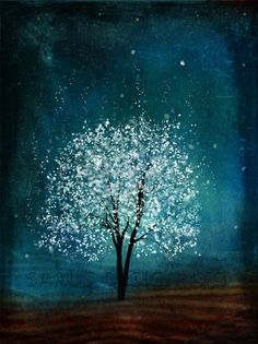 White spattered tree on dark teal blue background. 31 Paintings You Can Copy for Your Own House.