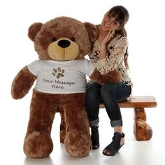 Giant Teddy - Life Size Mocha Brown Teddy Bear Sunny Cuddles 48in 0) tall and here is how that looks:  Personalize...