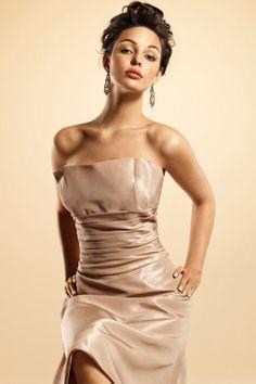 Amazing A-line empire waist taffeta dress for bridesmaid