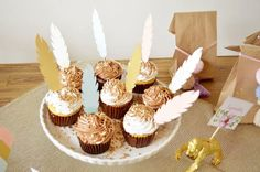 Cupcakes from a Boho Baby Shower via Kara's Party Ideas! KarasPartyIdeas.com (9)