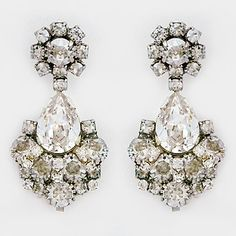 Erin Cole designer bridal jewelry. Small bridal chandelier earrings that are large on sparkle.  Mix of clear & silver shade crystals. Fab for evening wear too.