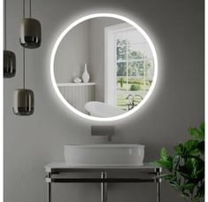Miseno W x H Circular Frameless Wall Mounted Mirror with LED L Mirrored Home Decor Mirrors Bathroom Mirror Mirror Decor, Modern Bathroom, Mirror With Lights, Bathroom Decor, Wall Mount, Mirror Wall, Wall Mounted Mirror, Bathroom Mirror, Modern House