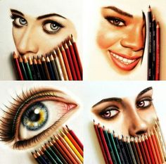 Eyes color pencil painting