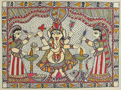 Lord Ganesha - Madhubani Folk Art on Paper