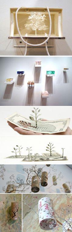 Paper tree installation book sculpture 37 new Ideas Book Sculpture, Paper Sculptures, Tree Carving, Paper Moon, Paper Tree, Environmental Art, Japanese Artists, Paper Cutting, Book Art