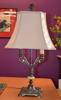 1920s 30s Art Deco Angular Geometric Table Lamp - Bronze-like Finish